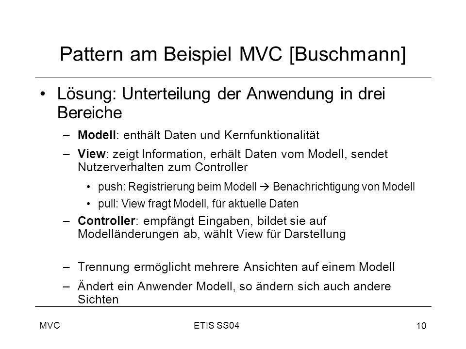 Pattern am Beispiel MVC [Buschmann]